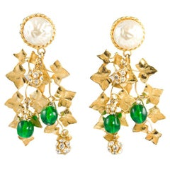 Philippe Ferrandis Pearl and Poured Glass Chandelier Earrings