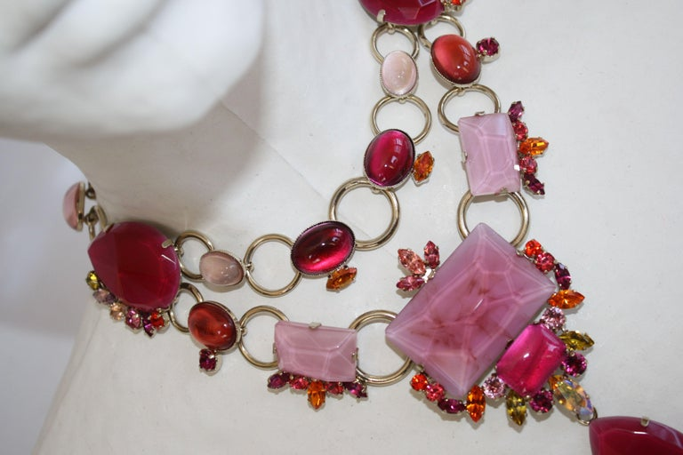Philippe Ferrandis Pink and Fuchsia Statement Necklace In New Condition For Sale In Virginia Beach, VA