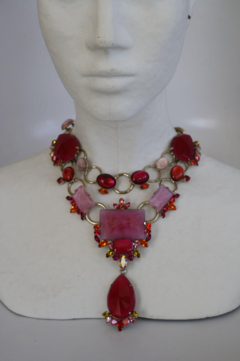 Women's Philippe Ferrandis Pink and Fuchsia Statement Necklace For Sale