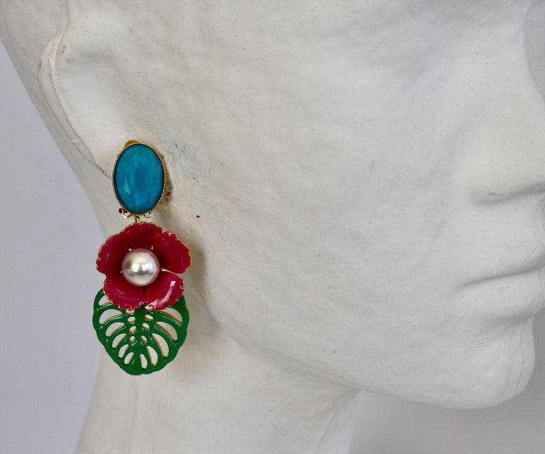 Resin and glass cabochon tropical inspired clip earrings from Philippe Ferrandis.