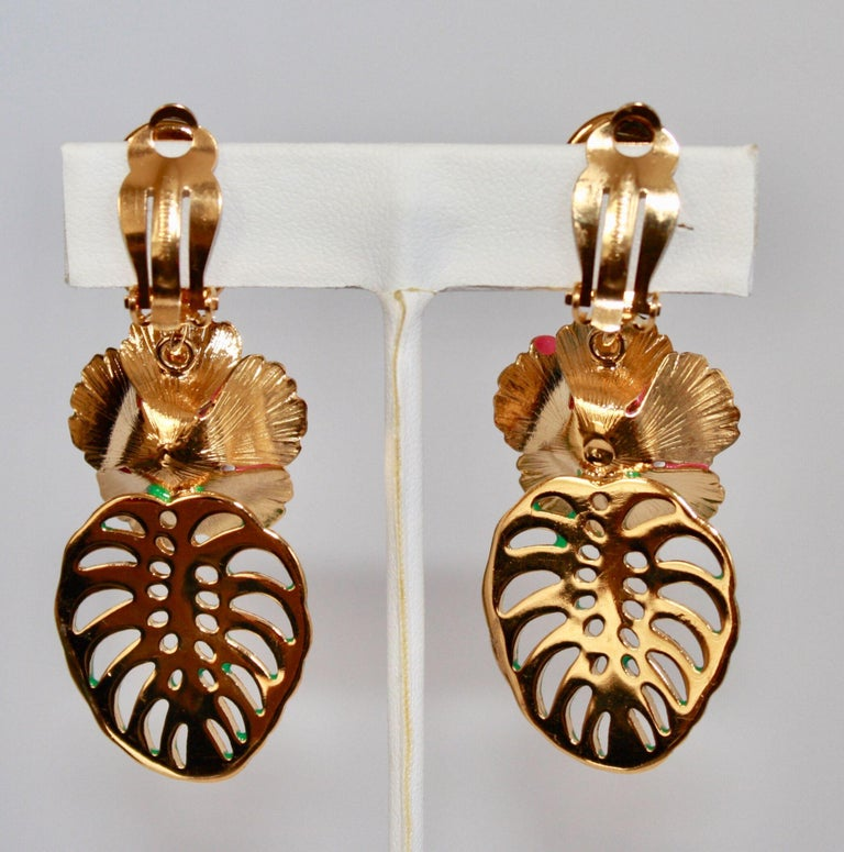Philippe Ferrandis Resin and Glass Tropical Clip Earrings  In New Condition For Sale In Virginia Beach, VA