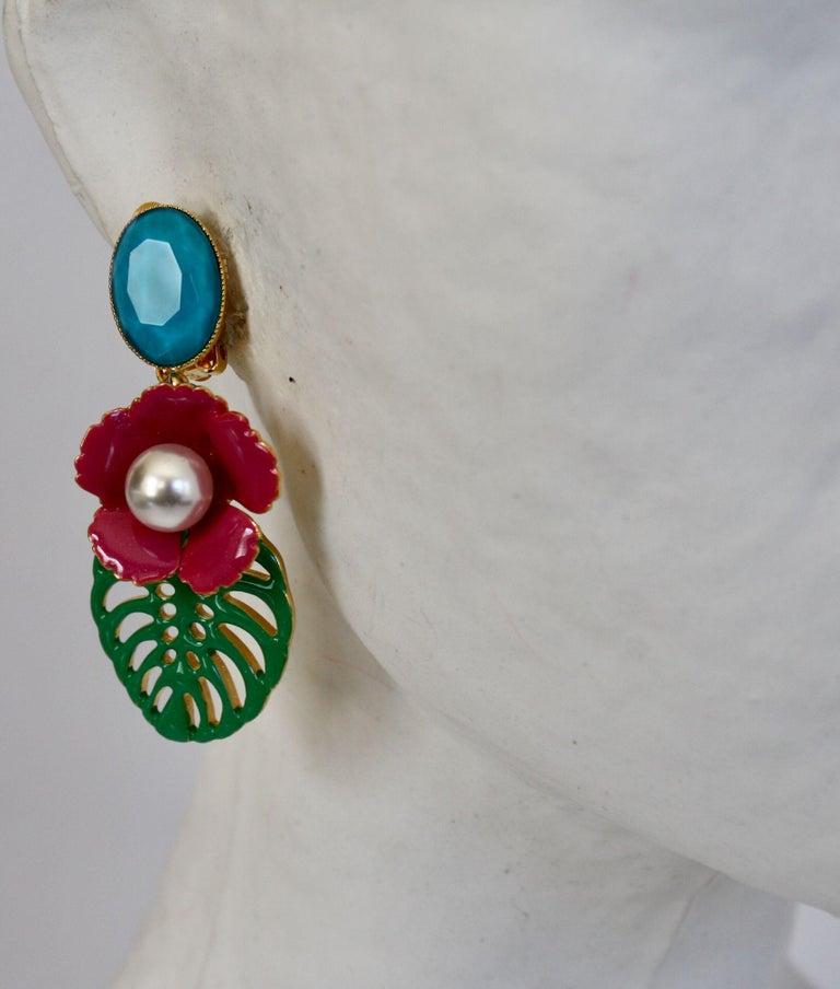Women's Philippe Ferrandis Resin and Glass Tropical Clip Earrings  For Sale