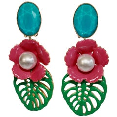 Philippe Ferrandis Resin and Glass Tropical Clip Earrings