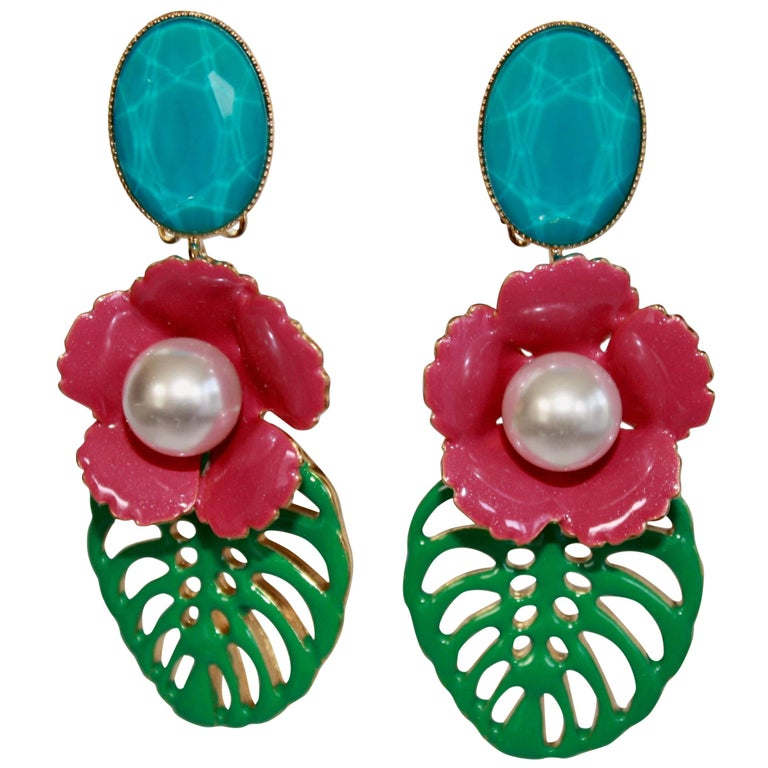 Philippe Ferrandis Resin and Glass Tropical Clip Earrings  For Sale