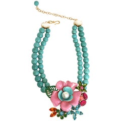 Philippe Ferrandis Small Turquoise Necklace with Enamel and Swarovski Crystals