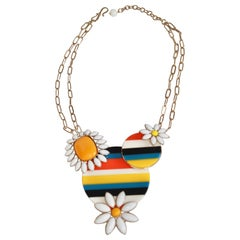 Philippe Ferrandis Stripe and Flower Motif Necklace