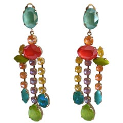 Philippe Ferrandis Swarovski Crystal Statement Earrings