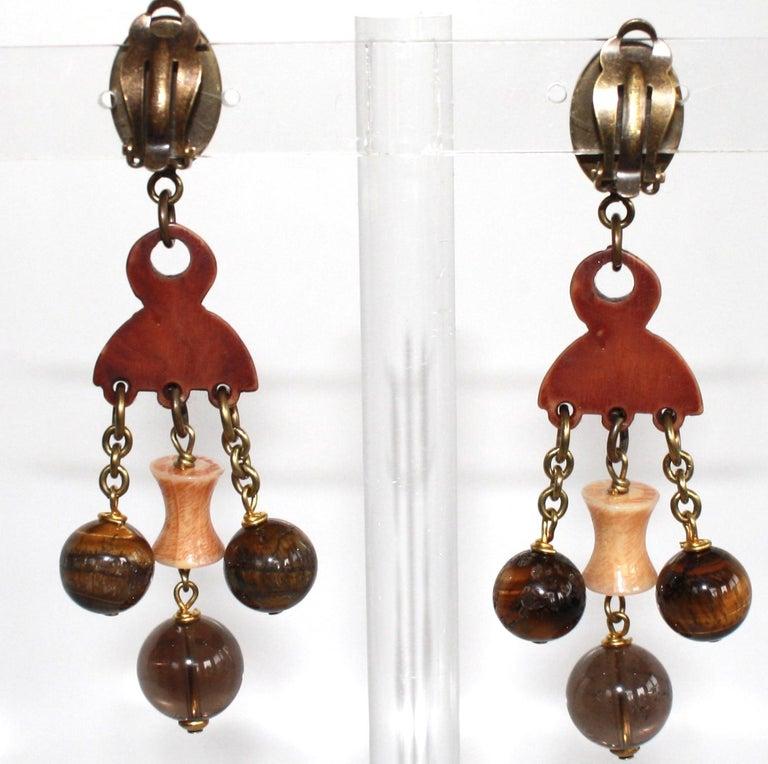 Modern Philippe Ferrandis Tribal Drop Earrings For Sale