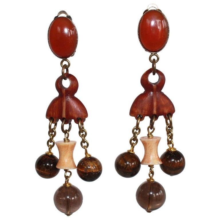 Philippe Ferrandis Tribal Drop Earrings For Sale