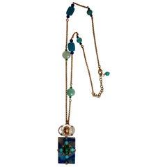 Philippe Ferrandis Turquoise, Lapis, and Mother of Pearl Long Chain Necklace