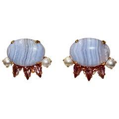Philippe Ferrandis unique Blue Chalcedony Clip Earrings