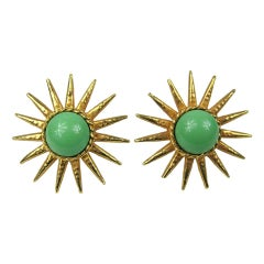 Philippe Ferrandis Vintage Gripoix Sun Burst Earrings 1990s New Old Stock