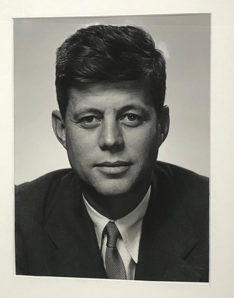 Philippe Halsman silver Gelatin John f Kennedy Photograph circa 1952 printed 1978. Stamped and raised signature. Lower right. Behind UV glass and with metal frame .photograph size is 11 x 14 framed measurements below .Stamped to back 6/500.