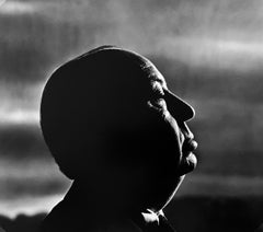 Alfred Hitchcock, while filming The Birds, 1962, by Philippe Halsman, vintage