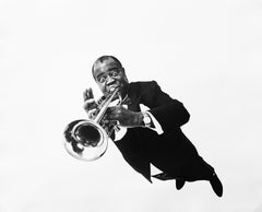 Louis Armstrong, Black & White Portrait Photography of African American Jazzman