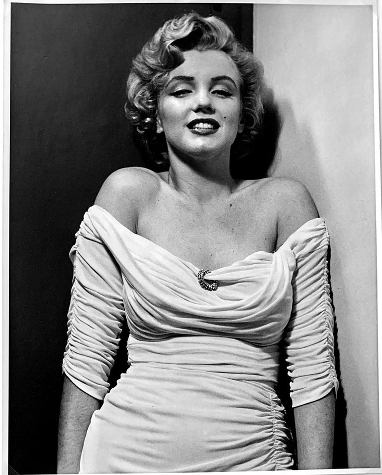 """A black and white photograph of celebrity actress Marilyn Monroe, selected as Life Magazine cover portrait in 1952 --  By Philippe Halsman - Marilyn Monroe for cover of life magazine, 1952 -- a 16"""" x 12"""" later (lifetime) print from the 70s, signed"""