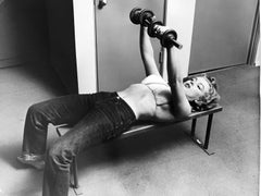 Marilyn Monroe with Barbells, 1952, by Philippe Halsman, vintage print, signed