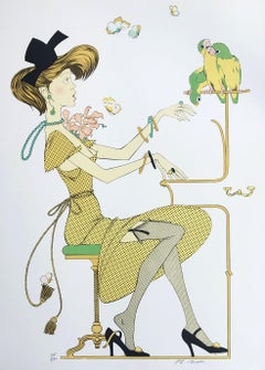Young Lady with Parrots - Original Lithograph Handsigned