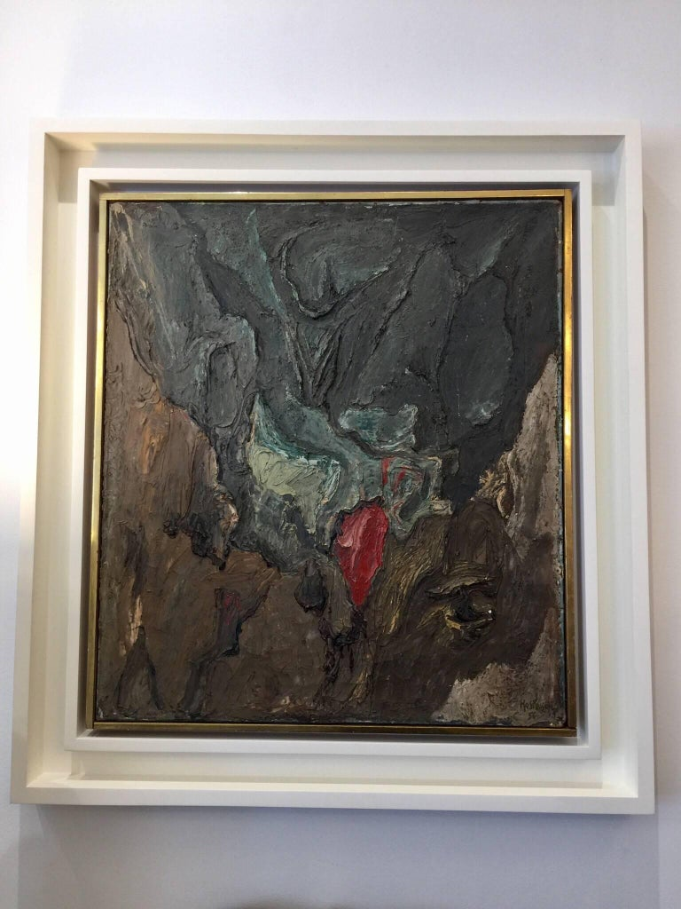 This is a wonderful midcentury textured abstract by important and listed French painter. Signed and titled on reverse