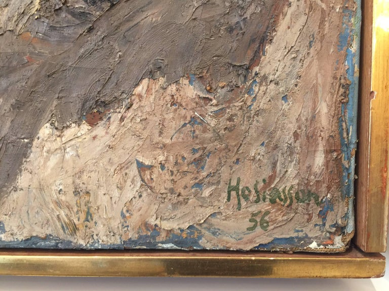 Mid-Century Modern Philippe Hosiasson Original Oil on Canvas, Tache Rouge For Sale
