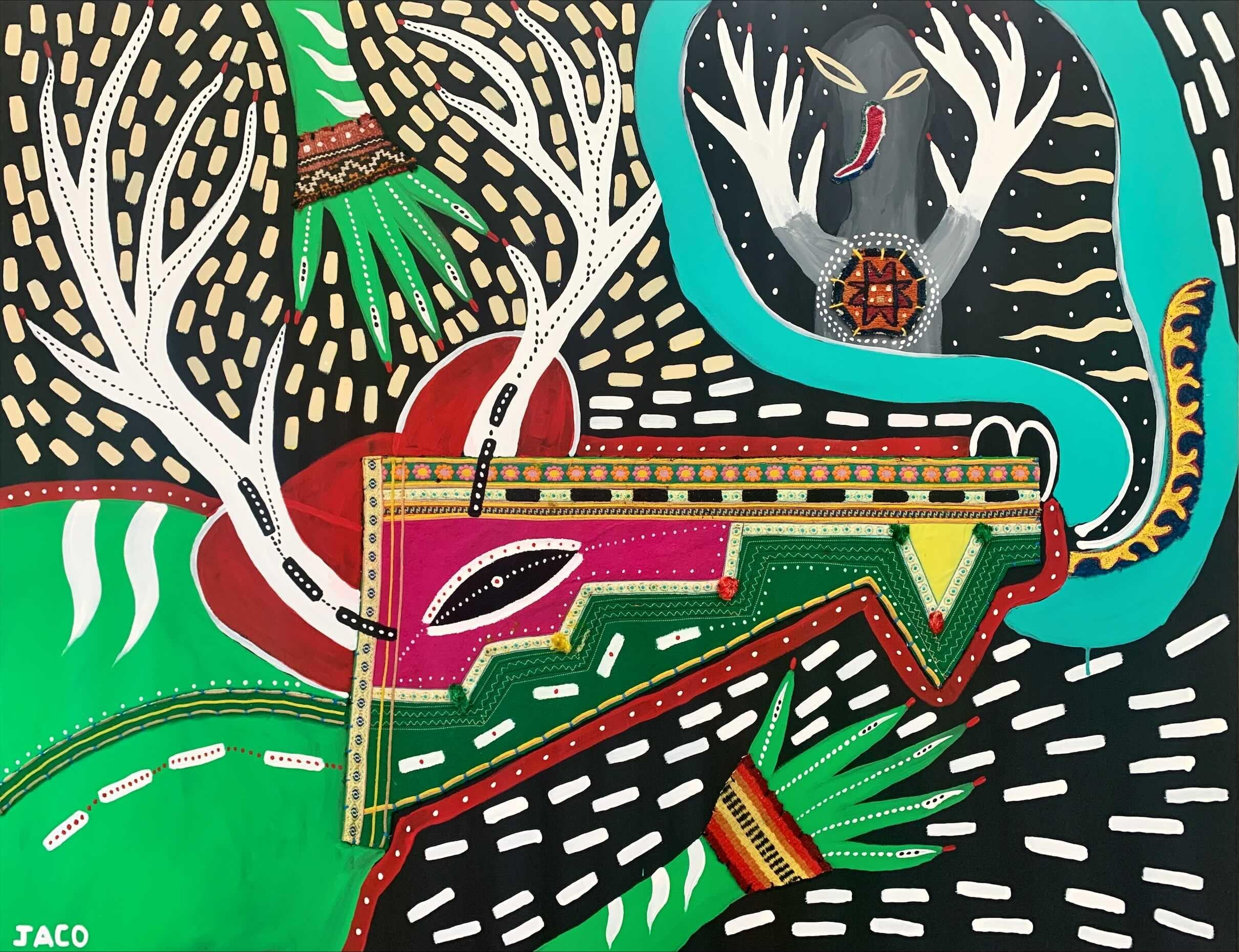The deer that talks to men Philippe Jacq 21st Century art Contemporary painting