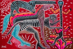 The marine horse Philippe Jacq 21st Century Contemporary art painting red pink