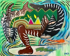 The surfer of the last wave Philippe Jacq 21st Century art Contemporary painting