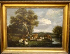 Cattle, Drover & Shepherdess Resting By A Stream, 18th Century