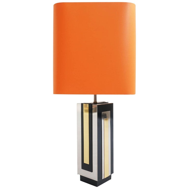 Philippe Jean, 1970s Big Chrome Plating, and Metal Table Lamp For Sale