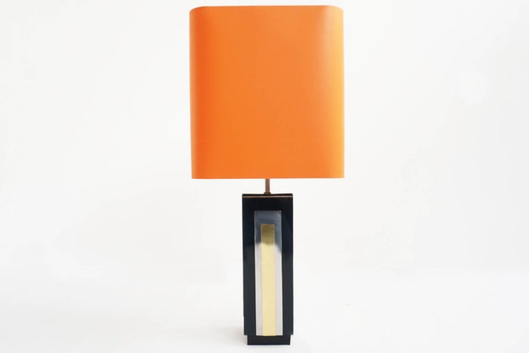 Italian Philippe Jean, 1970s Big Chrome Plating, and Metal Table Lamp For Sale