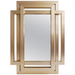 Philippe Jean, Important Mirror Three Crossed Brass Frames