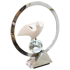 Philippe Jean Modern Enameled Metal Bird Table Lamp with Chrome & Glass Accents