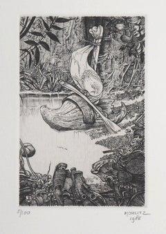 Surrealist Wetlands, 1986 - Original Handsigned Etching
