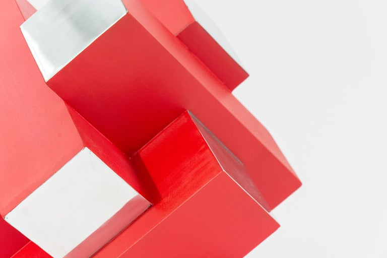12 Inch Cube Red 1/10 - Contemporary Sculpture by Philippe Pallafray