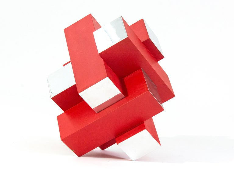 Philippe Pallafray Abstract Sculpture - 12 Inch Cube Red 1/10