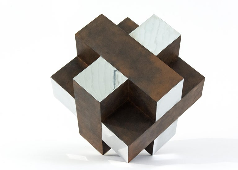12 Inch Cube Rust 1/10 - Sculpture by Philippe Pallafray