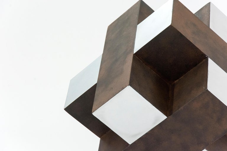 12 Inch Cube Rust 1/10 - Contemporary Sculpture by Philippe Pallafray