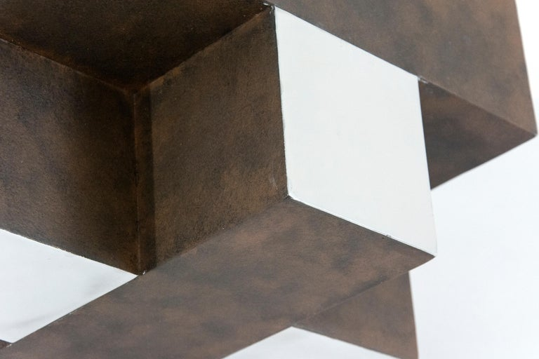 12 Inch Cube Rust 1/10 - Gray Abstract Sculpture by Philippe Pallafray