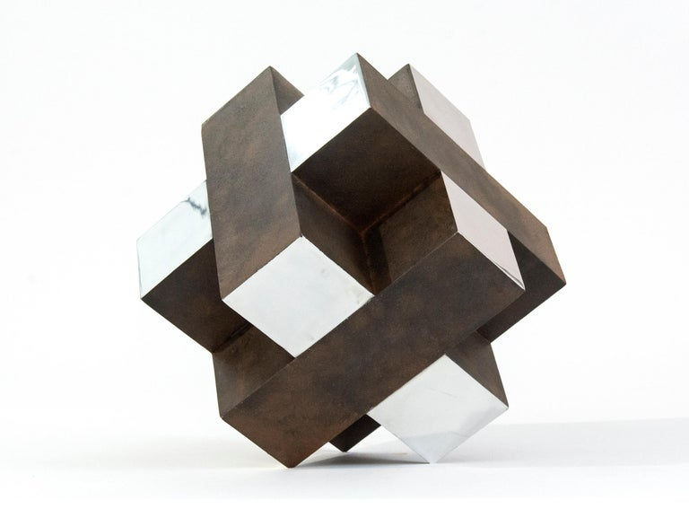 Philippe Pallafray Abstract Sculpture - 12 Inch Cube Rust 1/10