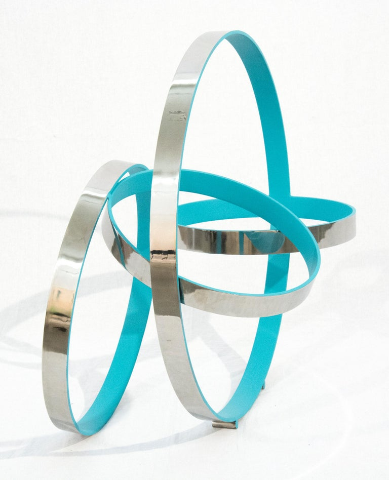 Four Ring Temps Zero Blue - Contemporary Sculpture by Philippe Pallafray