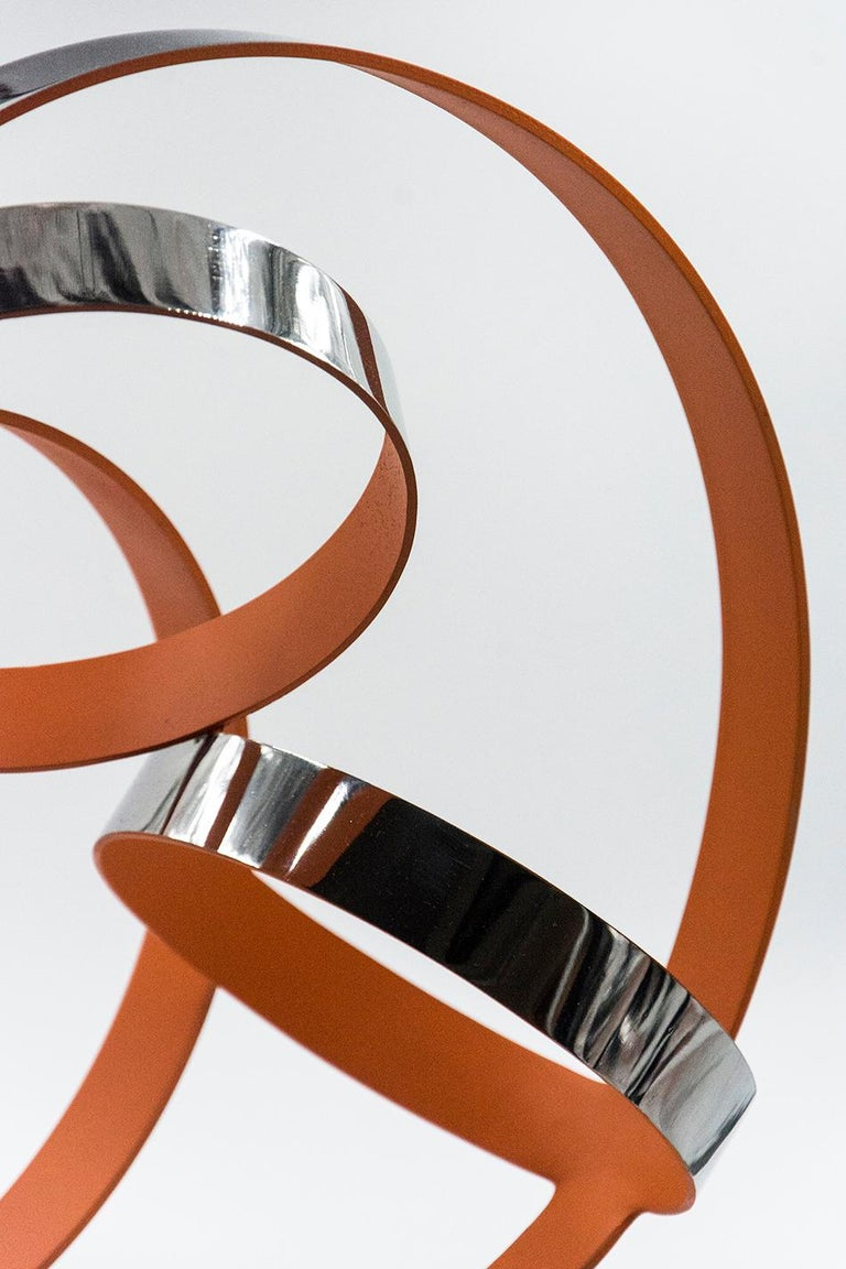Four Ring Temps Zero Orange - Beige Abstract Sculpture by Philippe Pallafray
