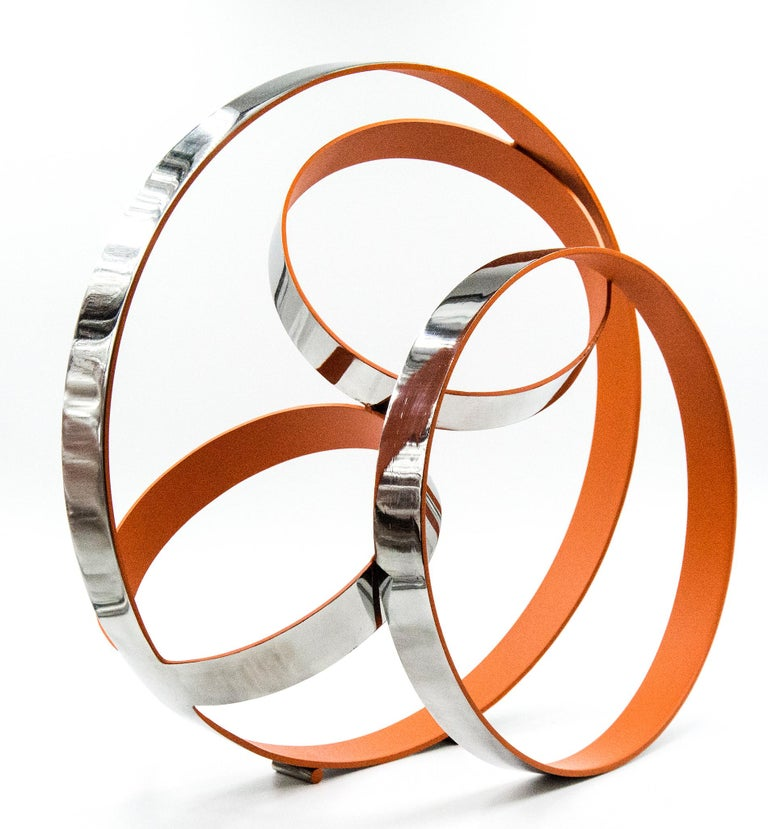 Philippe Pallafray Abstract Sculpture - Four Ring Temps Zero Orange