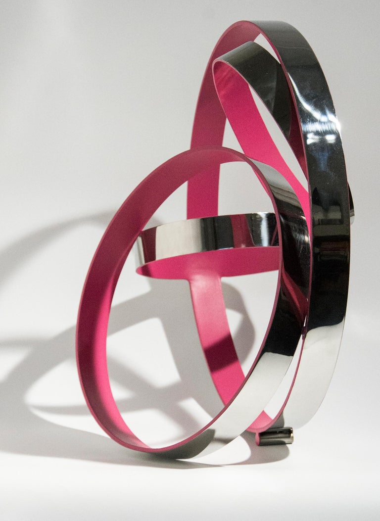 Four Ring Temps Zero Pink - Sculpture by Philippe Pallafray