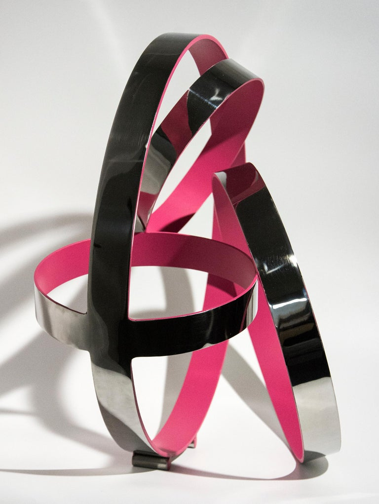 Four Ring Temps Zero Pink - Contemporary Sculpture by Philippe Pallafray