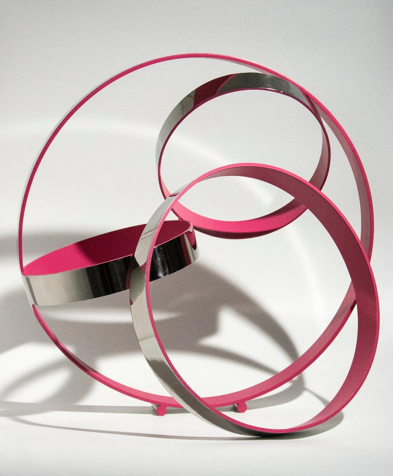 Philippe Pallafray Abstract Sculpture - Four Ring Temps Zero Pink