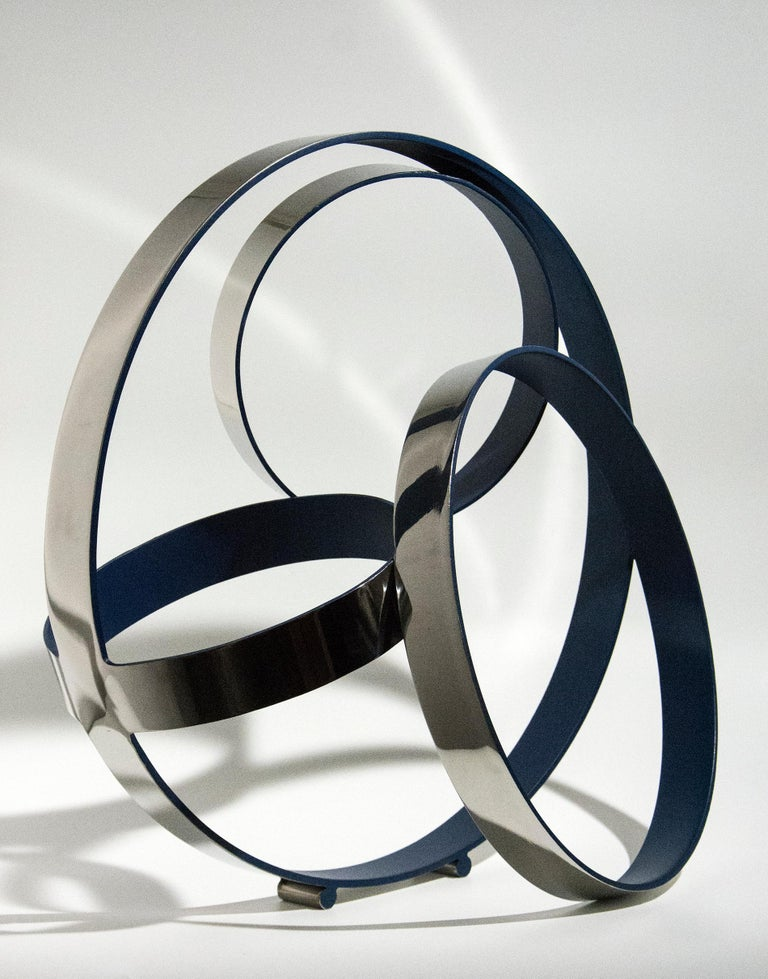 Philippe Pallafray Abstract Sculpture - Four Ring Temps Zero Ultra Marine Blue
