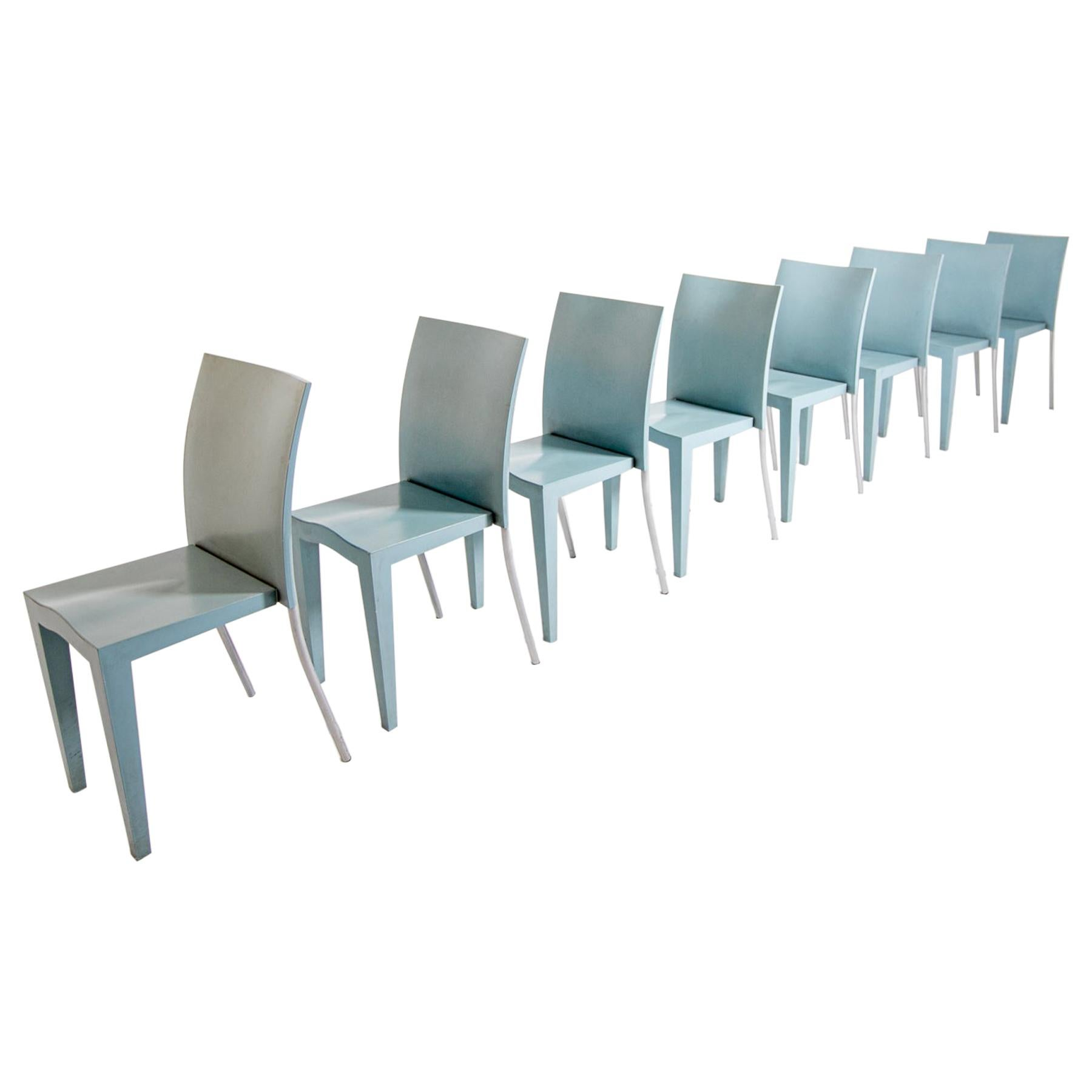 Philippe Starck by Kartell Set of Eight Light Blue Propylene Chairs, 1990s