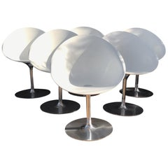 Philippe Starck by Kartell Six Swivel Eros Dining Chairs White with Chrome Italy