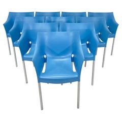 Philippe Starck Dr. No Blue Dining Chairs for Kartell, Set of Ten