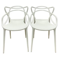 Philippe Starck & Eugeni Quitllet White Masters Chairs for Kartell - a Pair